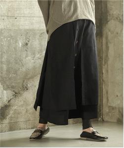 フロントボタンフェイクラップロングスカート