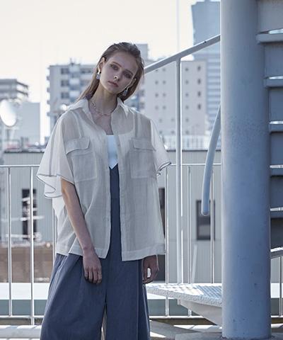 オーバーサイズ半袖シアーシャツ〔メール便可/100〕