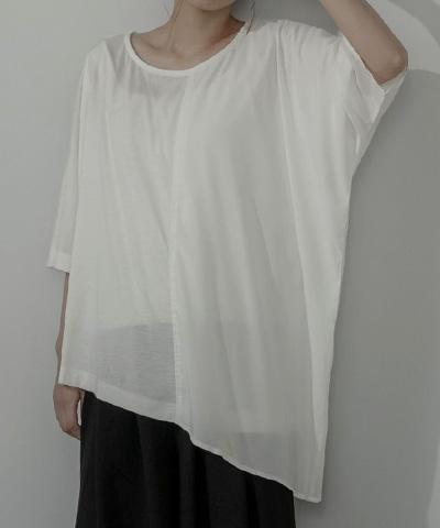 異素材MIXアシメドレープTシャツ〔メール便可/95〕