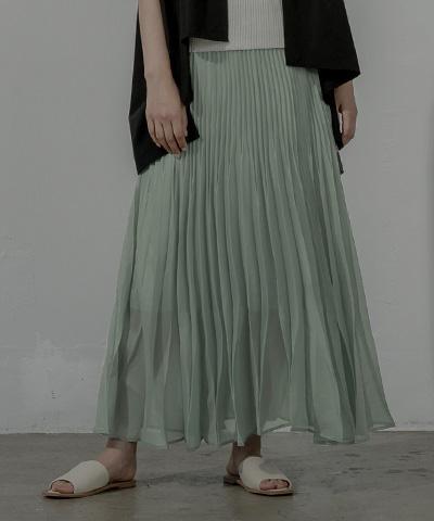 ランダムプリーツシアーロングスカート