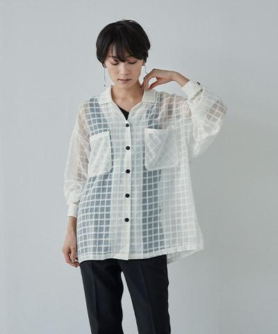 オーバーサイズシアーチェックワークシャツ