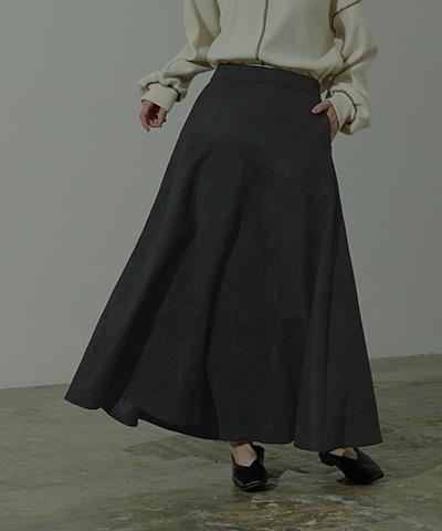 フェイクスエードロングフレアスカート